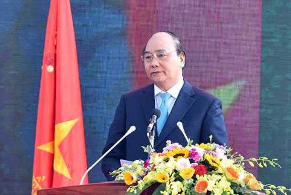 Thủ tướng Nguyễn Xuân Phúc phát biểu tại lễ kỷ niệm sáng nay. Ảnh: Thống Nhất/TTXVN