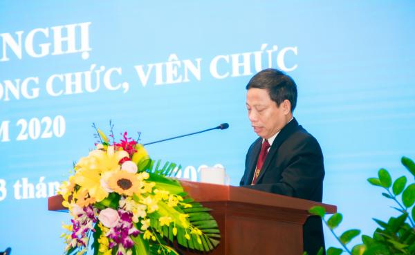 PGS.TS. Nguyễn Quang Học - Trưởng ban Thanh tra Nhân dân trình bày Báo cáo hoạt động của Ban Thanh tra Nhân dân Học viện năm 2019