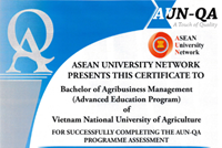 Two advanced education programs of Vietnam National University of Agriculture VNUA certified by ASEAN University Network - Quality Assurance AUN-QA