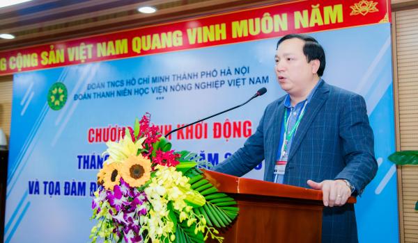 TS. Vũ Ngọc Huyên – Phó Bí thư thường trực Đảng ủy, Phó Giám đốc Học viện phát biểu tại buổi lễ