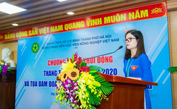 ThS. Đỗ Thị Kim Hương – Bí thư Đoàn Thanh niên Học viện phát biểu tại buổi lễ
