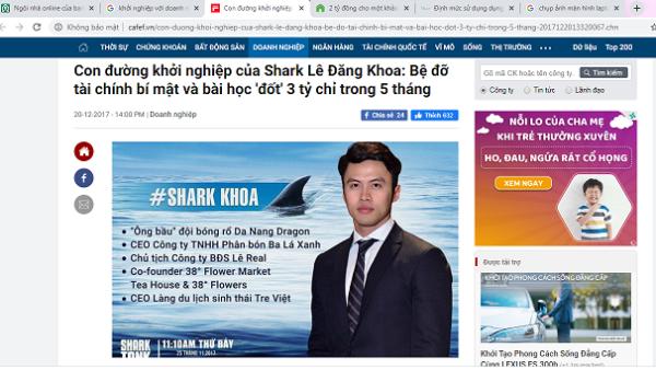 Shark Lê Đăng Khoa khởi nghiệp từ Công ty TNHH phân bón Ba lá xanh