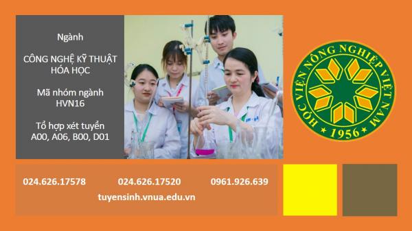 Thông tin tuyển sinh ngành Công nghệ kỹ thuật hóa học.