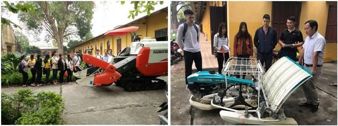 Sinh viên thực hành với máy Kubota tại khoa Cơ điện,  Học viện Nông nghiệp Việt Nam