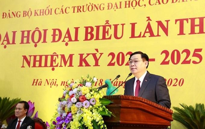 Ủy viên Bộ Chính trị, Bí thư Thành ủy Vương Đình Huệ phát biểu chỉ đạo Đại hội