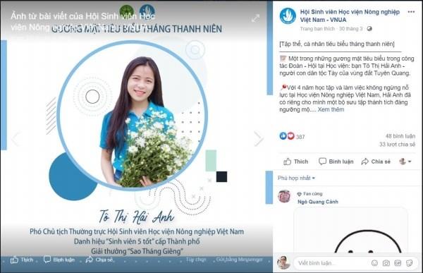 """Đồng chí Tô Thị Hải Anh – Phó Chủ tịch Thường trực Hội sinh viên vinh dự được nhận danh hiệu """"Sinh viên 5 tốt"""" cấp Thành phố"""
