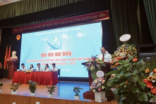 TS. Vũ Ngọc Huyên - Phó Bí thư Thường trực Đảng uỷ, Phó Giám đốc Học viện phát biểu tại Đại hội
