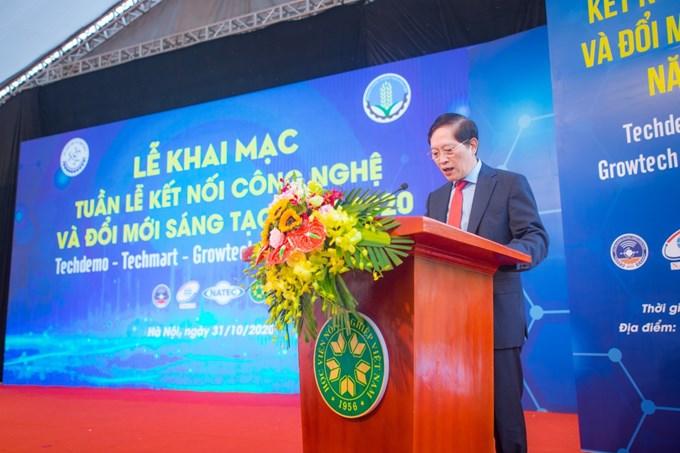 Thứ trưởng Bộ Khoa học và Công nghệ Trần Văn Tùng phát biểu tại Lễ khai mạc Tuần lễ kết nối công nghệ và Đổi mới sáng tạo năm 2020