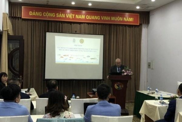 Ngài Paul Jansen, Đại sứ Bỉ tại Việt Nam phát biểu khai mạc hội thảo và nhấn mạnh an toàn thực phẩm và bảo vệ môi trường là chìa khóa để phát triển bền vững ngành thủy sản.