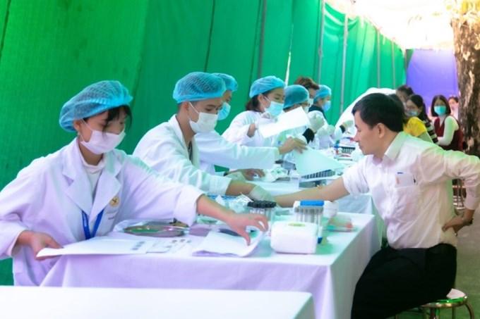 Khu vực lấy mẫu máu xét nghiệm