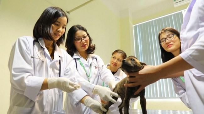 GS.TS.NGƯT Nguyễn Thị Lan (thứ hai, từ trái sang) cùng các sinh viên.