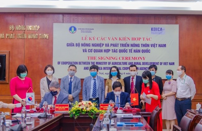 Thứ trưởng Lê Quốc Doanh và Giám đốc quốc gia Văn phòng KOICA tại Việt Nam Cho Han-Deog ký các văn kiện hợp tác