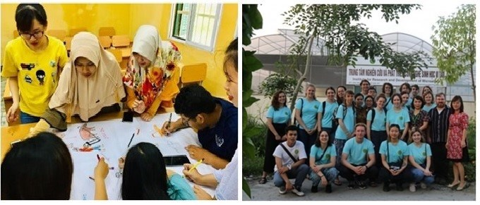 Sinh viên quốc tế tham gia thảo luận tại lớp và thăm mô hình tảo xoắn tại Học viện
