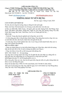 Công ty TNHH TM Đăng Huy Phát- Công ty TNHH TM XNK DVDL NGỌC VIỆT  TUYỂN DỤNG