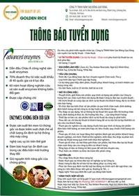 Công ty TNHH Năm sao Bông gạo vàng tuyển dụng cán bộ kỹ thuật Chăn nuôi và Thủy sản